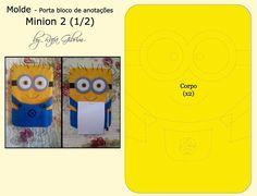 https://flic.kr/p/BUESiH | Molde porta bloco de anotações dos Minions (modelo 2)  1/2 | E conforme prometido para uma das seguidoras da fanpage, aí vai os moldes do porta bloco de anotações (modelo 2) Espero que gostem!!! Para confeccioná-lo utilizei  - feltro nas cores amarelo, azul, branco, cinza e preto - linhas nas mesmas cores - pupilas de sua preferência - base mais firme para o molde interno (usei caixa de sapato) DICAS: 1 - Para as pupilas, usem o que vocês tiverem costume. Elas…