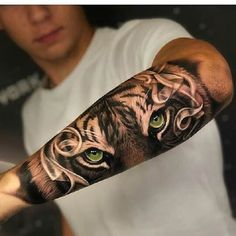 Arm tattoo for men - cool motifs and tattoos for men - Tiger tattoo with green . - Arm tattoo for men – cool motifs and tattoos for men – Tiger tattoo with green eyes on outside - Tigeraugen Tattoo, Tattoo Arm Mann, Forarm Tattoos, Wolf Tattoos, Animal Tattoos, Finger Tattoos, Body Art Tattoos, Totem Tattoo, Clown Tattoo