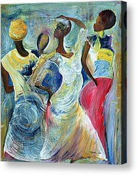 Sister Act Painting by Ikahl Beckford  - Sister Act Fine Art Prints and Posters for Sale