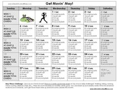 """May Fitness Challenge... """"Get Movin"""" May! Cardio and daily exercises to have you swimsuit ready for summer."""
