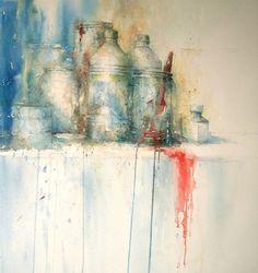 white-spirit by Janine Gallizia Figurative Kunst, White Spirit, Watercolor Artwork, Watercolour, Still Life Art, You Draw, Art Abstrait, Medium Art, Impressionist