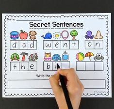 Help students practice beginning sounds, CVC words, sight words, reading and sentence structure with these secret sentence sheets. learning Secret Sentences Worksheets - CVC and Sight Words Teaching Phonics, Preschool Learning Activities, Teaching Kids, Phonics Rules, Teaching Pronouns, Name Writing Activities, Jolly Phonics Activities, Writing Sentences Worksheets, Dyslexia Activities