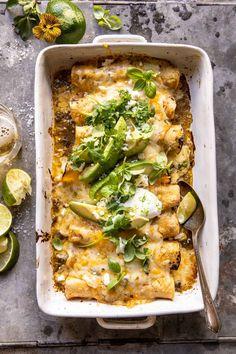 Sheet Pan Cheesy Poblano Corn Enchiladas | halfbakedharvest.com Vegetarian Dinners, Vegetarian Recipes, Cooking Recipes, Going Vegetarian, Meal Recipes, Healthy Dinners, Healthy Cooking, Dinner Recipes, Corn Recipes