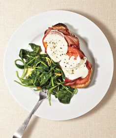Get the recipe for Ham and Mozzarella Melts With Sauteed Spinach.