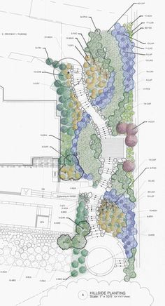 Hillside Garden by Arterra Landscape Architects Landscape Design Plans, Garden Design Plans, Landscape Architecture Design, Landscape Architects, Hillside Garden, Sloped Garden, Planting Plan, Diy Garden Projects, Garden Ideas