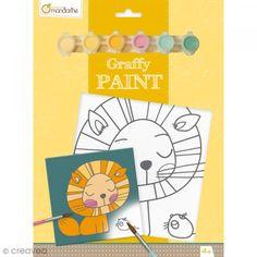 Kit infantil pintura Graffy Paint - León - Lienzo de 20 x 20 cm y accesorios - Fotografía n°1