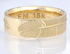 Feather ring by Eva Marin, Boston designer (18k yellow gold)