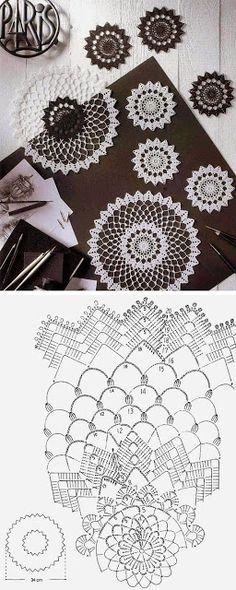 Crochet Circles, Crochet Doily Patterns, Crochet Chart, Thread Crochet, Crochet Designs, Crochet Doilies, Crochet Lace, Crochet Stitches, Knitting Patterns