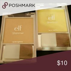 ELF Shimmer powder with brush (2) Two new shimmer powders  I.  Gold.  2. Pink elf Makeup Face Powder