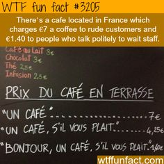 French Cafe that charges more for rude customers -WTF fun facts