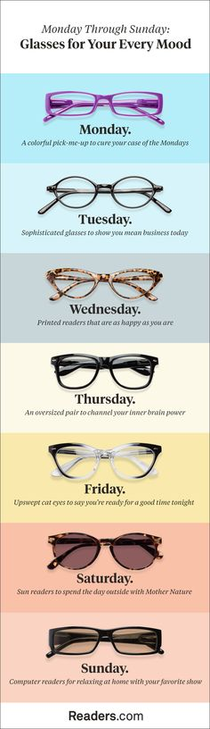 7b474b0c887 Glasses for Every Day of the Week. Variety of Frames Available at  Readers.com