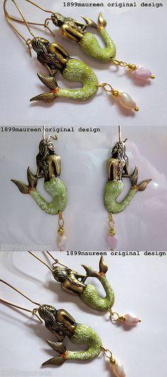 Other Vint Repro Fine Jewelry 48583: Art Nouveau Art Deco Earrings 1920S Vintage Stye Mermaid Earrings Pearl Drop BUY IT NOW ONLY: $23.99
