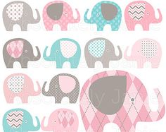 Cute elephant digital clipart Elephant Collection by revidevi