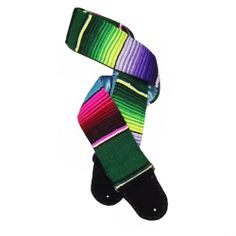 Bright Colorful Mexican Guitar Strap Handmade Green Blue Red Purple | Coolstraps - Music/Instruments on ArtFire