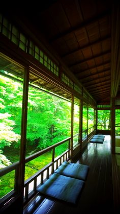 Veranda of Ruri-kouin temple, Kyoto, Japan