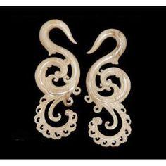 peacock gauged earrings