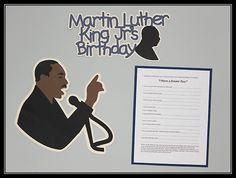 Create this Martin Luther King Jr. Bulletin Board to celebrate his birthday! Juliana Michaels used the Cricut Craft Room Exclusives Classroom-December & January images for this project! #Cricut