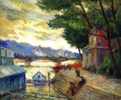 Banks of the Seine at Paris - Maximilien Luce  french 1858-1941