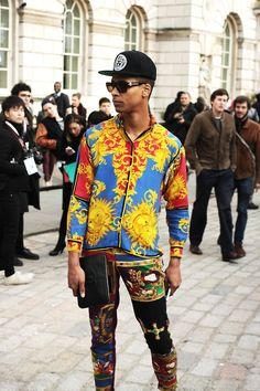 Versace streetstyle at London Fashion Week