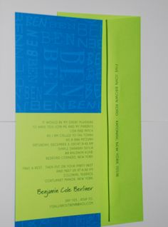 Cool lime green and blue invitation for a Bar Mitzvah.