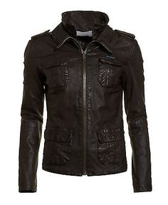 New-Womens-Superdry-Ramona-Leather-Jacket-Brown £120