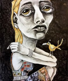 15 Lovely Mixed Media Art Focused on Faces and Figurative often Abstract with Added Distortion by Deb Weiers from Alberta, Canada. Abstract Portrait, Portrait Art, Figurative Kunst, Quirky Art, A Level Art, Maquillage Halloween, First Art, Creepy Cute, Art Sketchbook