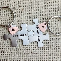 You are my missing piece puzzle piece Keychains set by CMKreations, $24.00