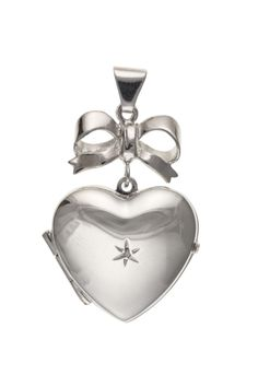 Silver Diamond Set Heart Locket with Bow #jewellery #silver #locket #pendant #diamond Locket Design, 925 Silver, Sterling Silver, Silver Lockets, Heart Locket, Silver Diamonds, Decorative Bells, Flask, Jewelry Collection