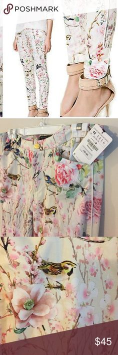 75115fca Zara oriental bird and flower pants Trafaluc for Zara floral ankle pants.  Never been worn