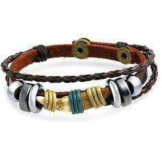 Braided Leather Multi Wrap Zen Surfer Bracelet Bali Flower Horn ($13) ❤ liked on Polyvore featuring jewelry, bracelets, brown, wrap bracelet, bohemian jewellery, macrame wrap bracelet, boho jewellery and bead charms