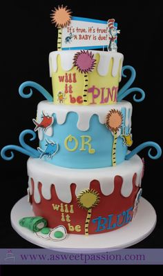 It's true, it's true!  A baby is due!  Will it be pink or will it be blue?  A Dr. Seuss inspired gender reveal cake.