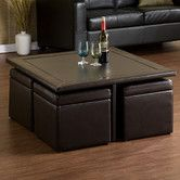 Barton Coffee Table Set - This is great to add extra seating when necessary with the ottomans that come with it. I love how they tuck under so neatly and can remain hidden when not in use.