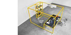 """Jörg Schellmann: Study """"Private work cell"""" for an open-plan office."""