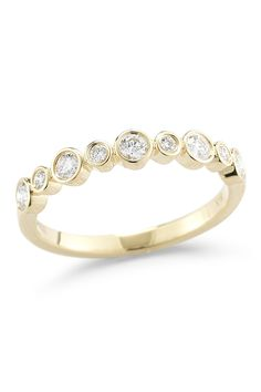Lily & Isabella | 18K Yellow Gold Diamond Half Eternity Ring - 0.33 ctw - Size 6.5 | HauteLook