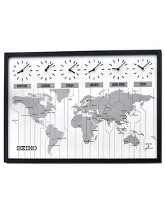 Customize this large wall clock to the six time zones of your choice using the 32 pre-printed city plaques included. A blank plaque is also included if you wish to indicate a city or time zone that wa