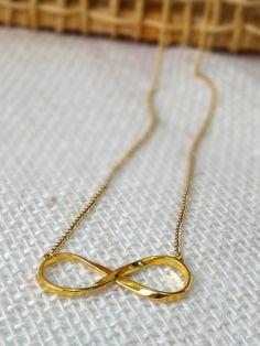 Colar Infinito Dourado - Golden Infinity Necklace | Beat Bijou | Elo7