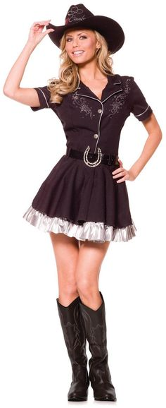 Women's Rhinestone Cowgirl Adult Costume - Black - Large for Halloween Price: $32.14