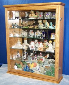 Items similar to Oak Wall Curio Cabinet Display on Etsy Wall Curio Cabinet, Curio Cabinets, Liquor Cabinet, Cupboards, Custom Woodworking, Solid Oak, Handmade Gifts, Etsy, Home Decor