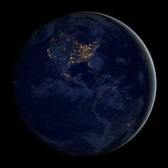 City lights of the Americas