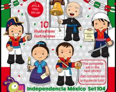 60% off Mexican Independence clip art, Heroes, Mexico clipart kids, school, kids illustrations, fiesta, mexican national holiday set 104
