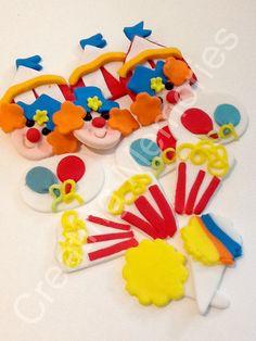 18 Fondant Circus Design Cupcake Toppers por anafeke en Etsy