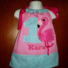 "Aqua and Pink ""Tutu Cute"" Flamingo Birthday Party Pillowcase Dress,,,,,,,,  $35.00"