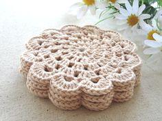Coaster Crochet Coasters Placemat Table by AlenaChamomiletea