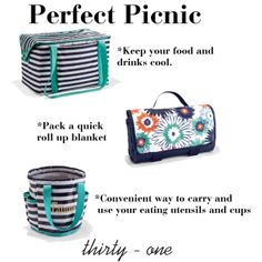 Picnic thermal also good for keeping groceries cool.  Great combo for the park, ball games and tailgating.