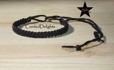 On Sale Black Hemp Bracelet tassel by CordedDelights on Etsy, $3.00