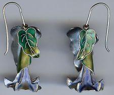SUPERB VINTAGE STERLING 3D BLUE & GREEN ENAMEL TRUMPET FLOWER DANGLE EARRINGS
