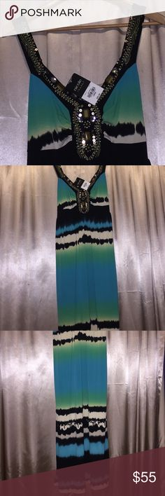 Maxi dress Embellished neck maxi dress 👗. Colors of the Caribbean blue see. Never worn. Nicole by Nicole Miller Dresses Maxi