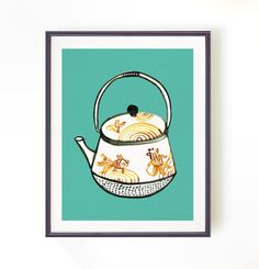 Chinoiserie teapot print, watercolor art, Kitchen art