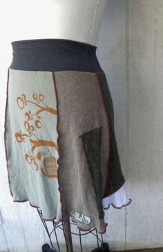 Earthy eco birdcage screenprint/ tree/ upcycled skirt