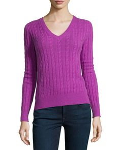 Cable-Knit+Cashmere+Top+by+Neiman+Marcus+at+Neiman+Marcus.